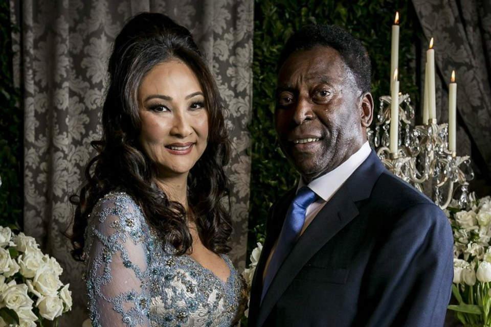 Ekspresi bahagia Pele dan Marcia