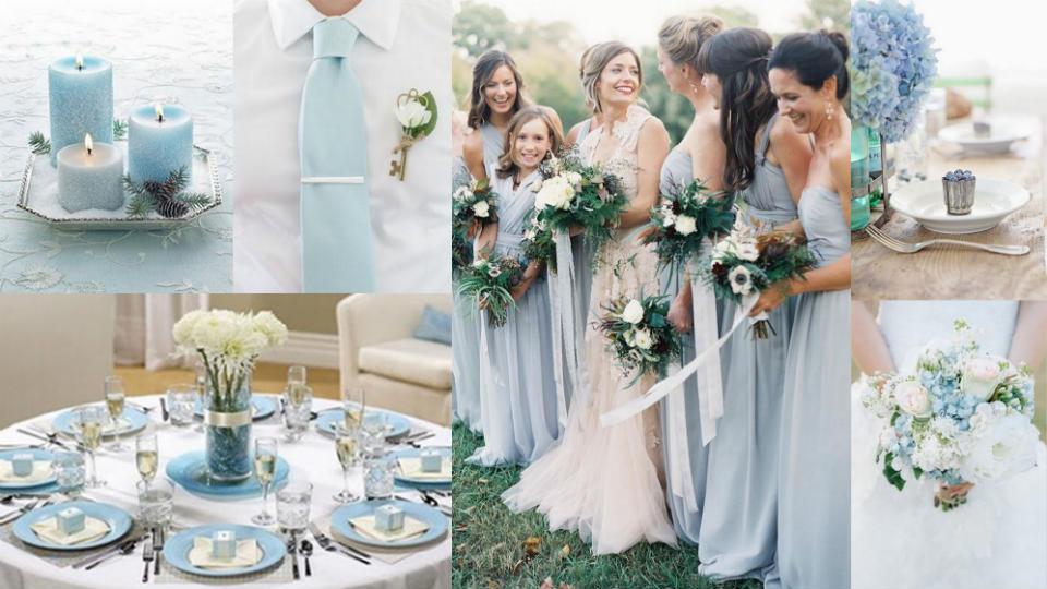 Tema biru-putih untuk pesta pernikahan